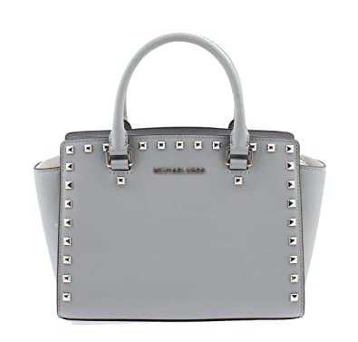 8084215ff675 Michael Kors Selma Stud Medium Top Zip Satchel - 30T3SSMS2L DUWTY BLUE   Handbags  Amazon.com