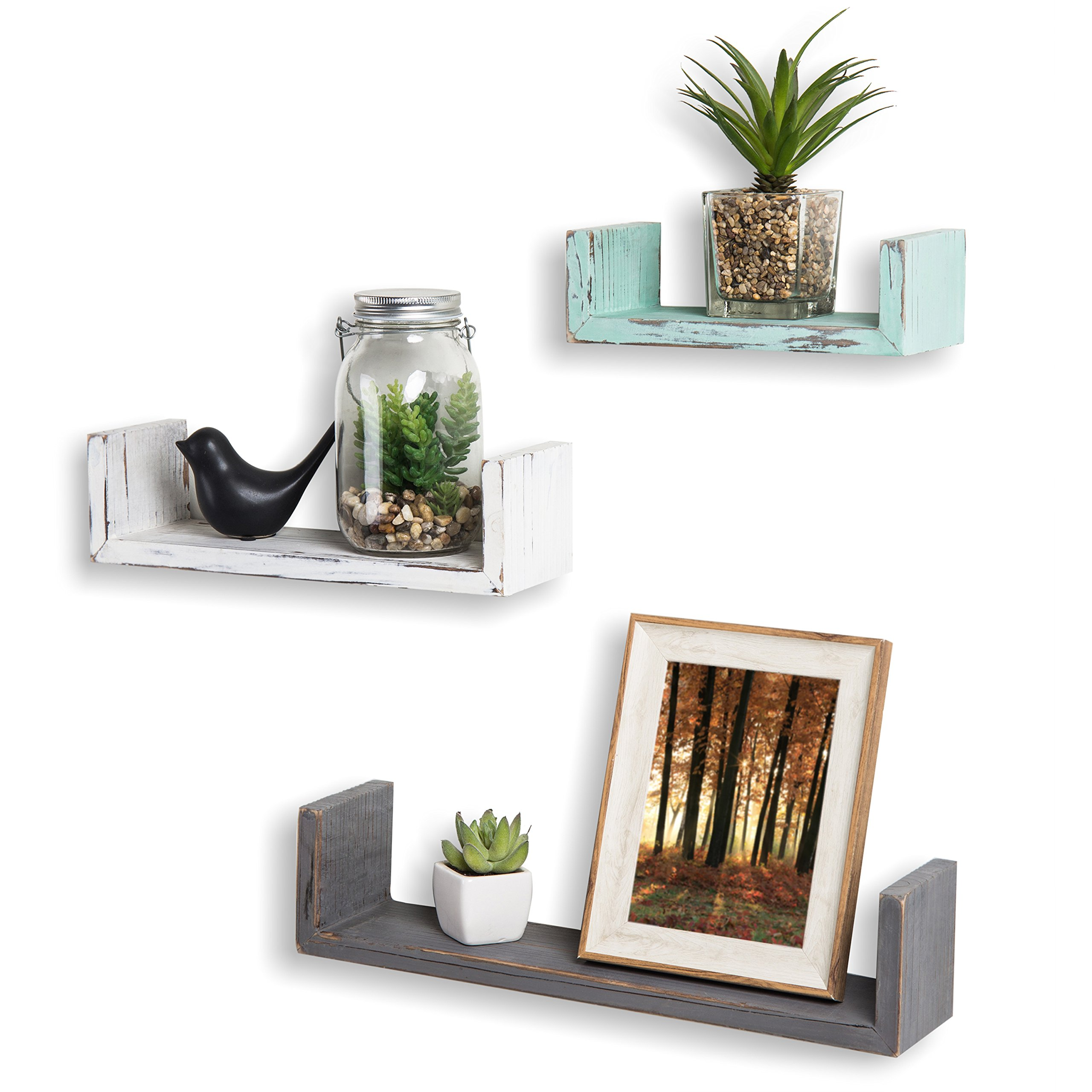 MyGift Set of 3 Mixed-Color Rustic Wood Floating U Shelves