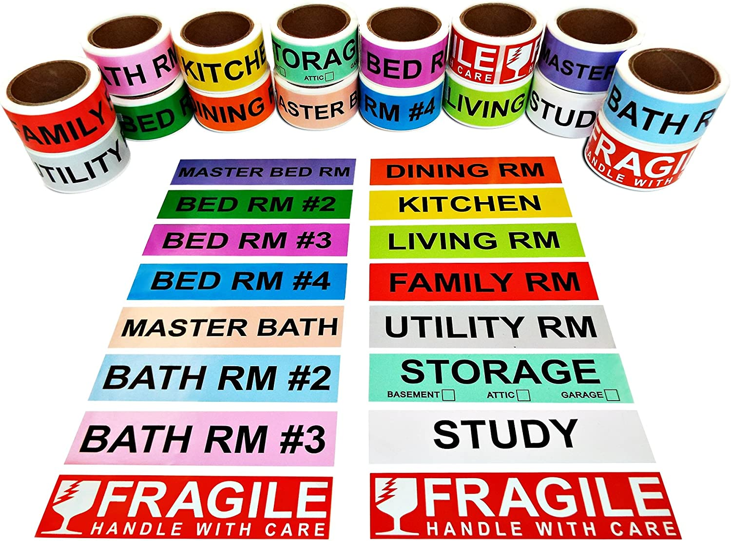 800 Count Home Moving Color Coding Labels, 4 Bedroom House + Fragile Stickers, [14 Different Living Spaces + 2 Rolls Handle with Care, 16 Rolls Total, 50 Labels/Roll, 1 Inch Height X 4.5 Inch Width] : Office Products