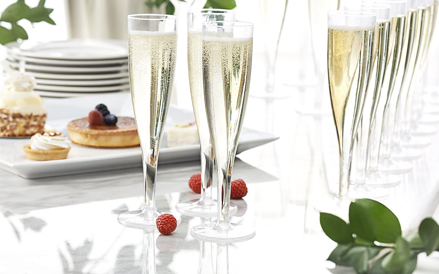 5 oz Clear N5124 Box of 4 Party Essentials 1 Piece Hard Plastic Champagne Flutes