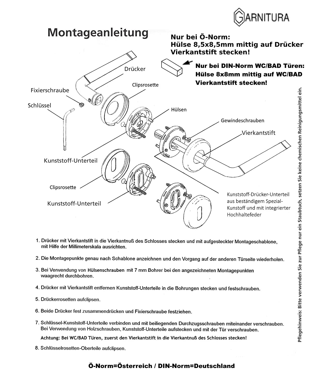 Rosettengarnitur aus Edelstahl GARNITURA Adela PZ Rostfreie Renovierungsgarnitur f/ür Zimmert/üren mit Profilzylinder T/ürbeschl/äge mit T/ürgriff
