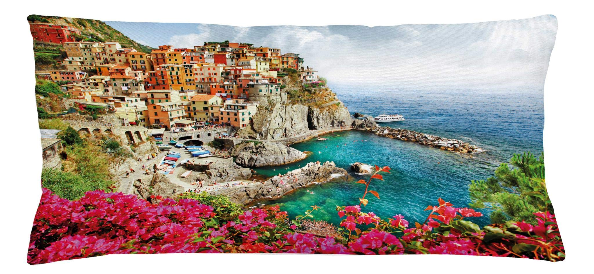 Ambesonne Italy Throw Pillow Cushion Cover, Monarola Antique Village in Cinque Terre Coastal Panorama Summer Beach Scenic View, Decorative Square Accent Pillow Case, 36 X 16 Inches, Multicolor