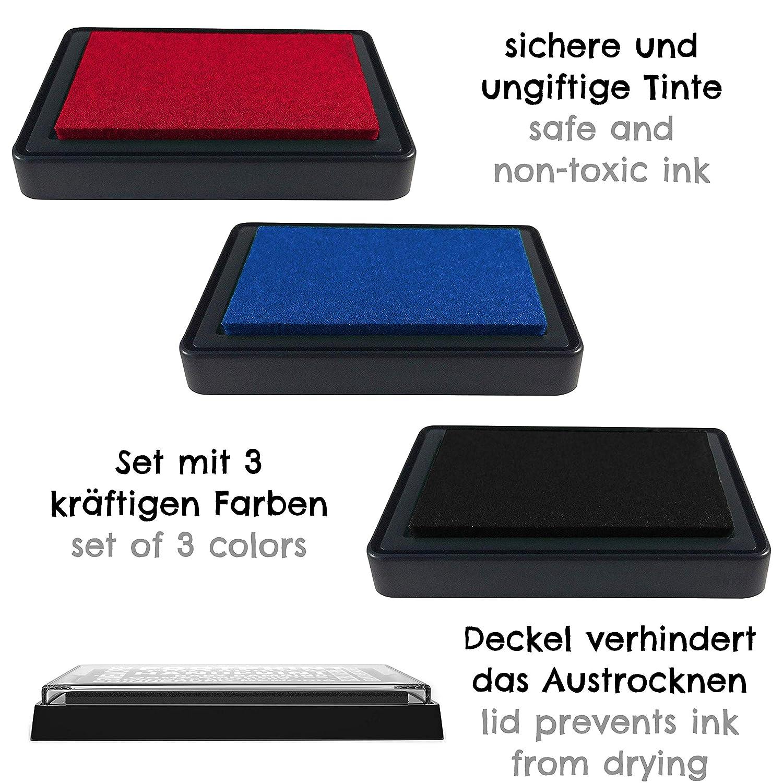 Baby Fu/ß- oder Handabdruck Set in 3 Farben leicht von der Haut abwaschbar sichere und wiederverwendbare Stempelkissen schwarz + rot + blau
