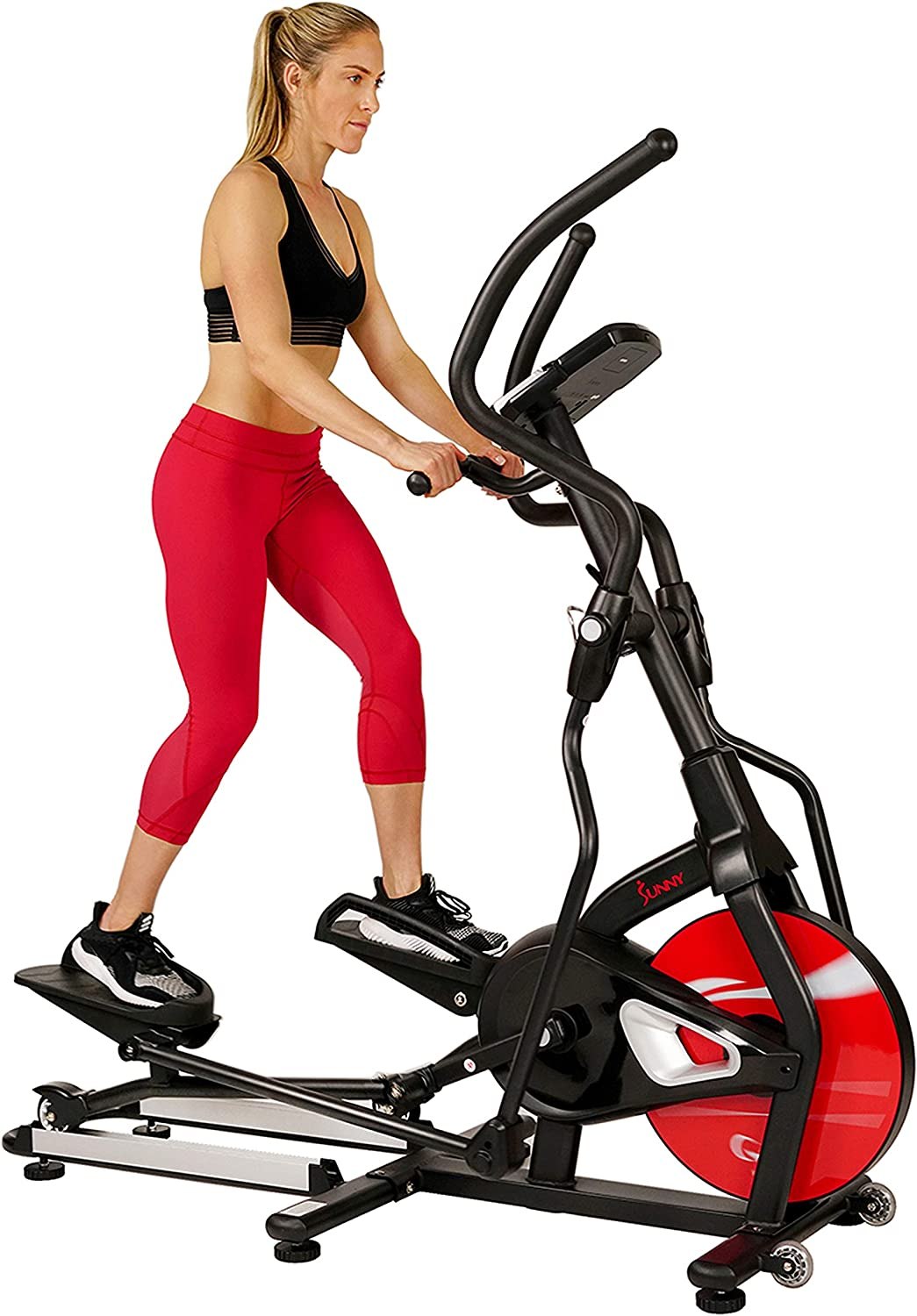 Sunny Health & Fitness Magnetic Elliptical Trainer Machine w/ Tablet Holder, LCD Monitor, 265 Max Weight and Pulse Monitor - Stride Zone - SF-E3865,Black
