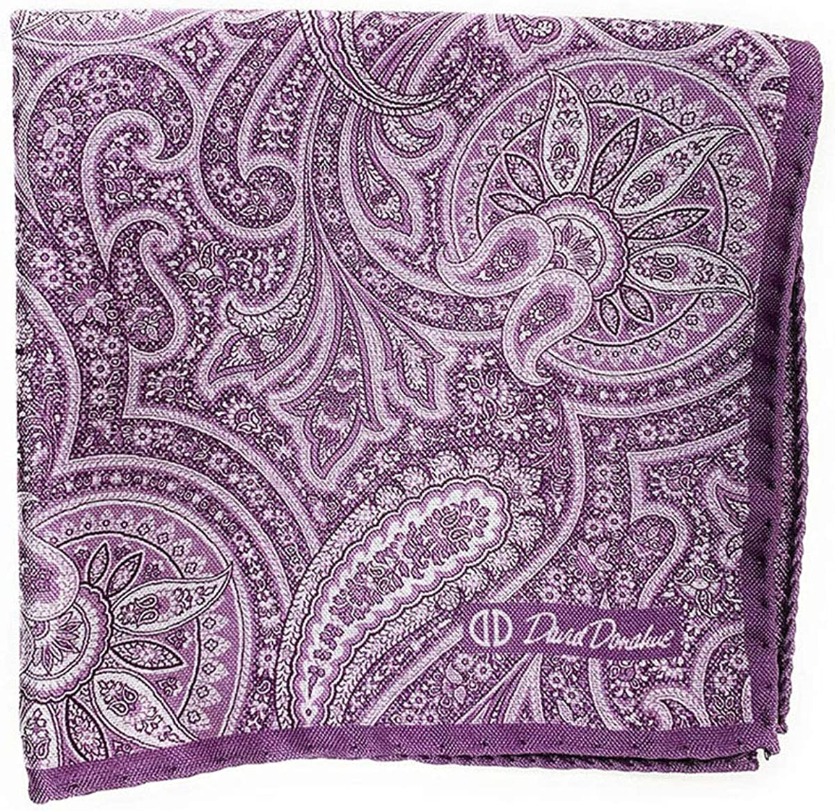 David Donahue Mens Two Sided Purple Paisley Pocket Square