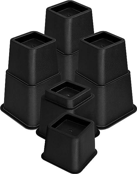Utopia Bedding [Lot de 8 Rehausseur Pieds de lit, Élévateur de lit de 13 à 23 cm, Pied de Meuble Reglable (Noir)