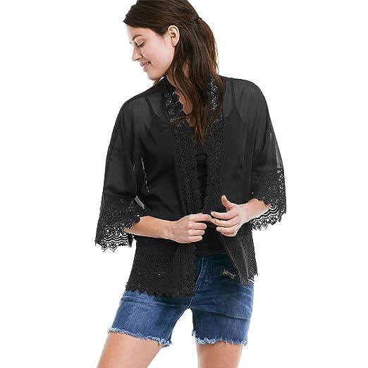 eefefa73b4adc Ellos Women s Plus Size Sheer Lace Trim Kimono Cardigan at Amazon ...