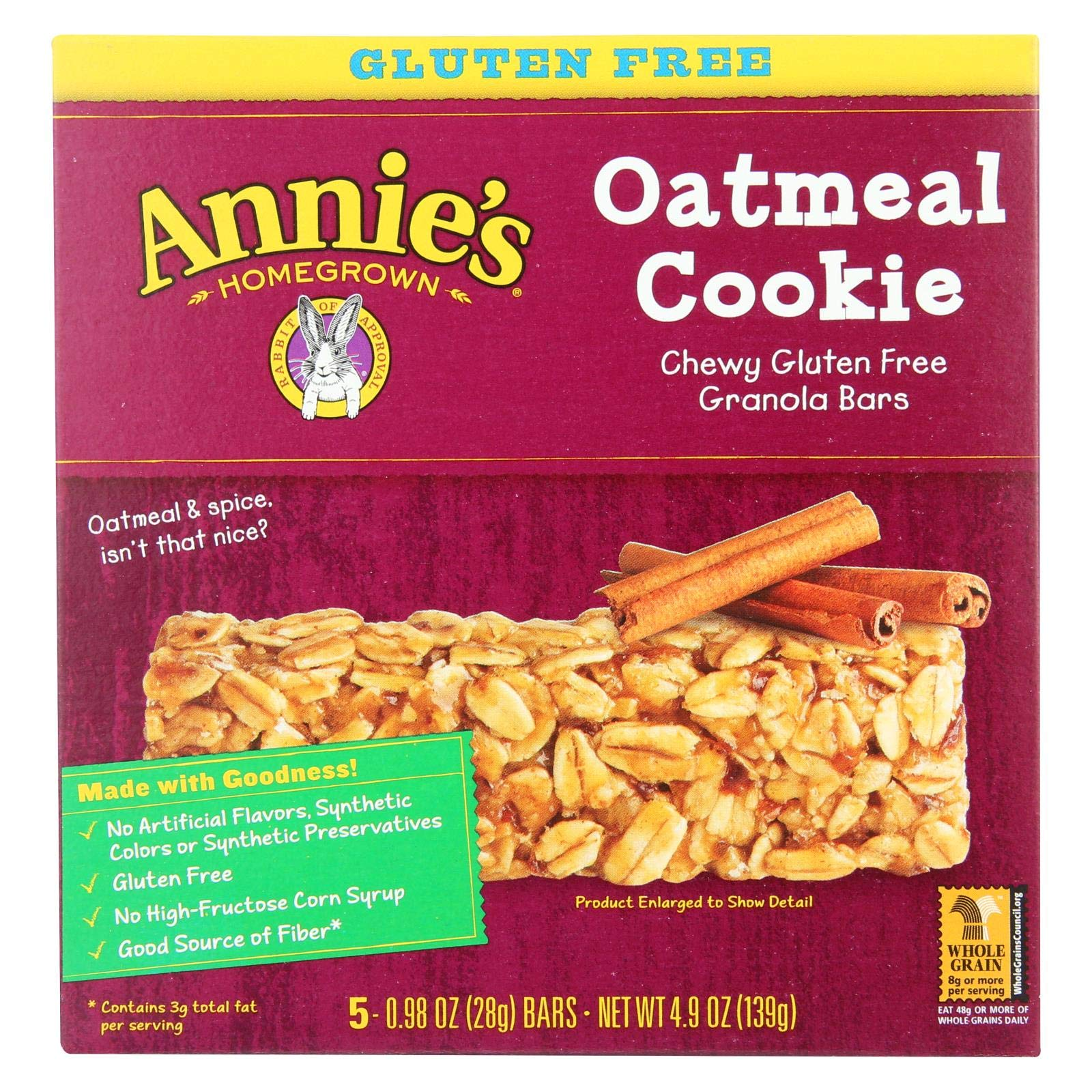 Annie's Homegrown Chewy Gluten Free Granola Bars Oatmeal Cookies - Case of 12 - 4.9 oz. by Annie's Homegrown