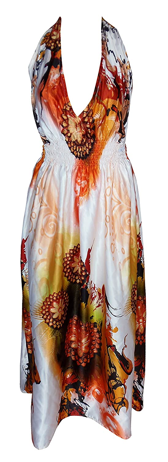 Sunrose Allover Printed Long Tube Dress Party Wear Smocked Dress