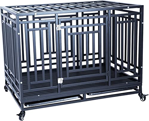 Heavy Duty Dog Crate Cage Kennel Strong Metal Frame Kennel Durable Indoor Outdoor Kennel for Large Dogs, Easy to Assemble and Move with Four Wheels