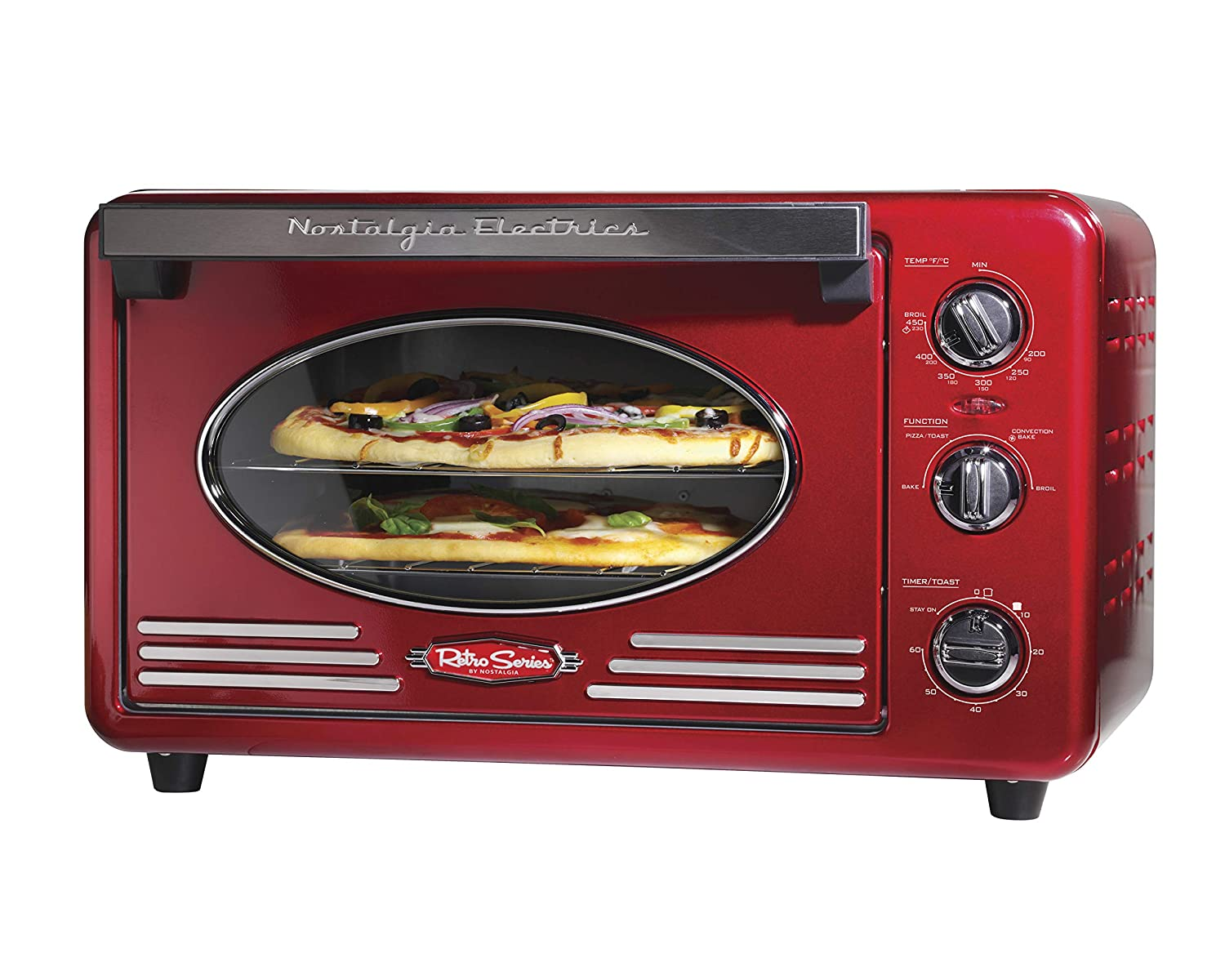 Nostalgia RTOV2RR Large-Capacity 0.7-Cu. Ft. Capacity Multi-Functioning Retro Convection Toaster Oven, Fits 12 Slices of Bread and Two 12-Inch Pizzas, Built In Timer, Includes Baking Pan