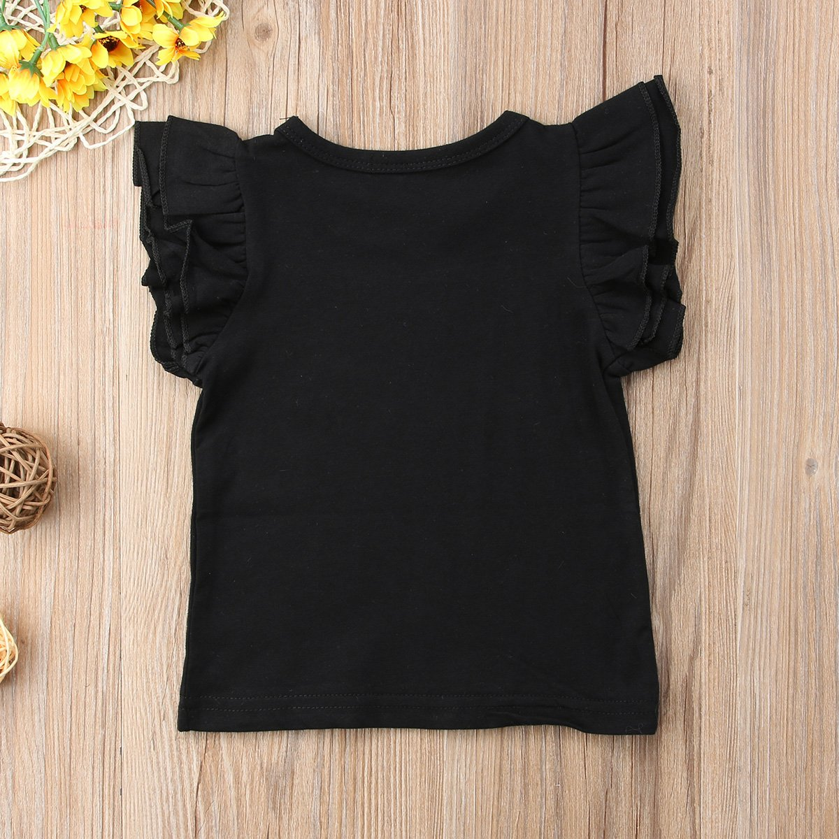 1304810390947 Mubineo Toddler Baby Girl Basic Plain Ruffle Sleeve Cotton T Shirts Tops  Tee Clothes