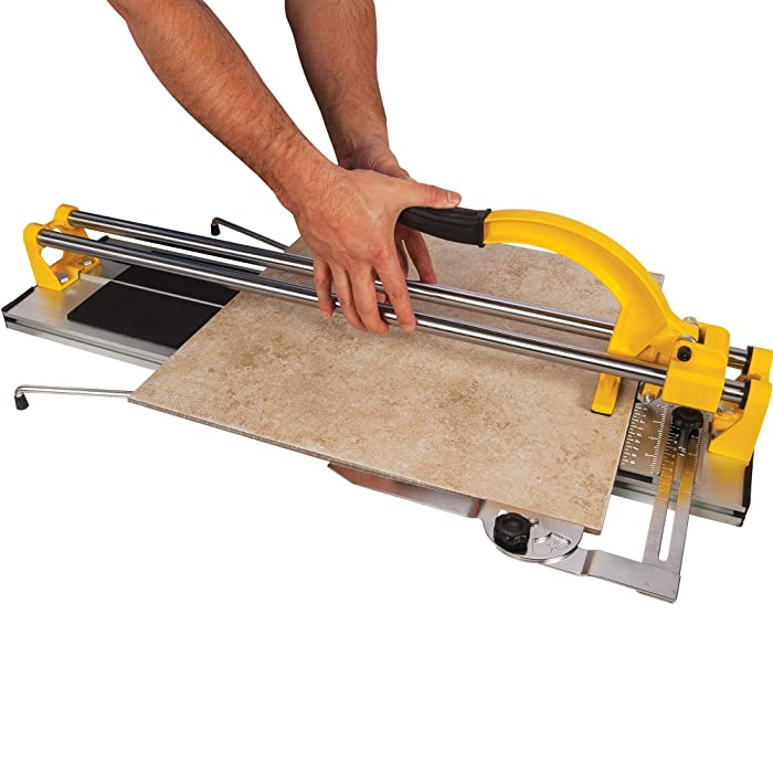 Use a tile cutter for straight cuts on tile