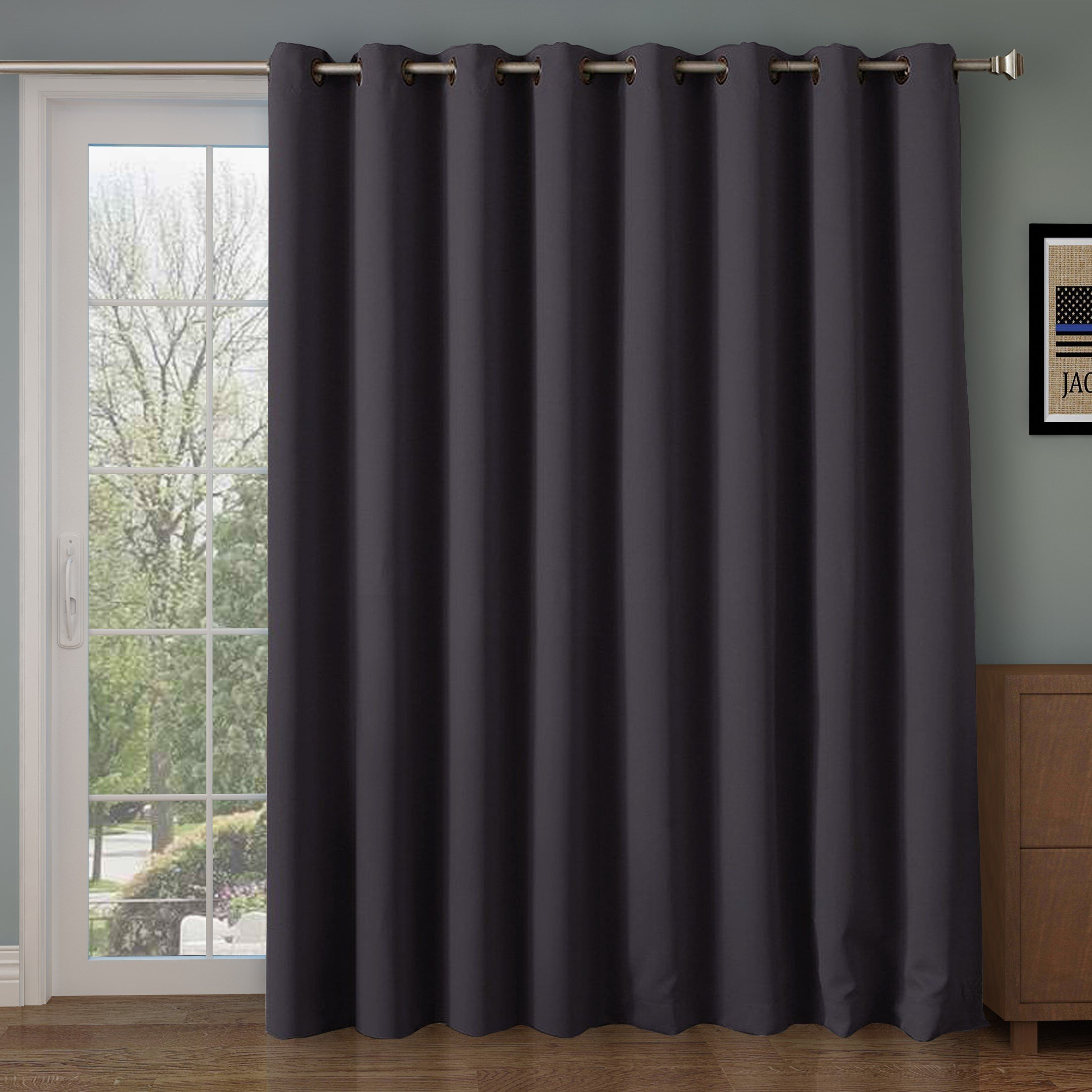 Rose Home Fashion RHF Wide Thermal Blackout Patio Door Curtain Panel, Sliding Door Insulated Curtains,Extra Wide Curtains:100W by 84L Inches-Grey 100W by 84L Inches-Dark Grey by Rose Home Fashion