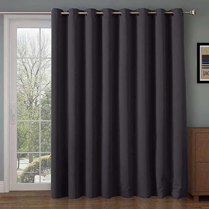 RHF Thermal Blackout Patio door Curtain Panel, Curtains for sliding glass door,Sliding door insulated curtains,Extra Wide curtains&Gray vertical blinds/Grommet curtains 100Wx84L Inches-Dark Grey