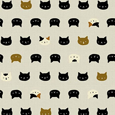 Cat tela – 0,5 m – diseño de gatos en gris claro de color