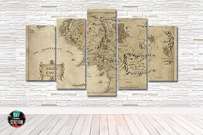 Amazon.com: Lord Of The Rings Middle Earth Map Canvas Print