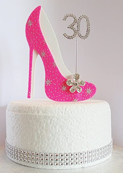Fantastic 30Th Birthday Cake Decoration Shoe With Diamante Number Non Funny Birthday Cards Online Overcheapnameinfo