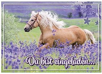16 Einladungskarten Zum Kindergeburtstag   Motiv Pferd   Für Kinder,  Jungen, Mädchen, Party