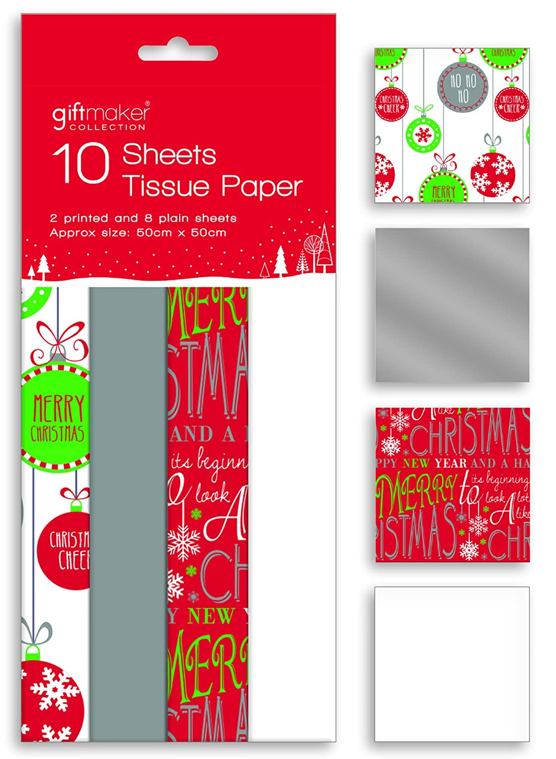 10 Sheets of Christmas Tissue Paper Gift Wrap Red White Silver & Bauble Designs Anker International