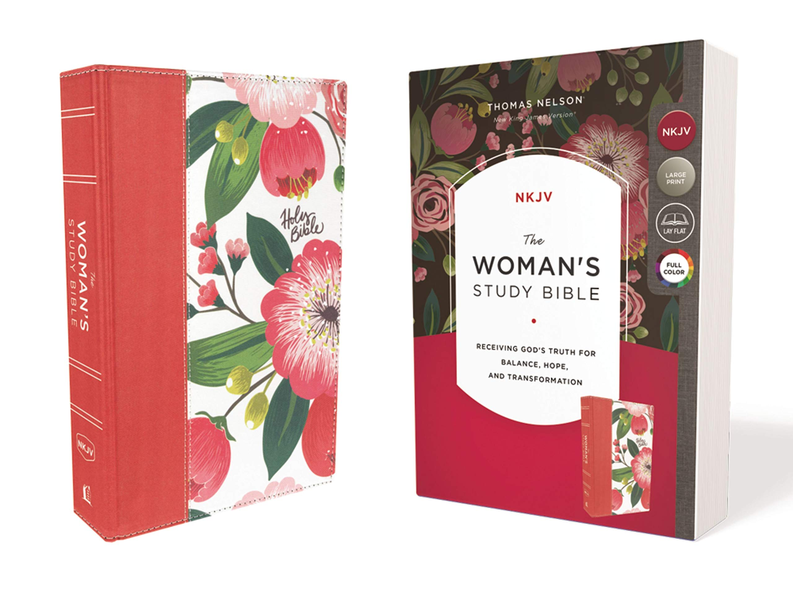 The NKJV, Woman's Study Bible, Cloth over Board, Pink Floral