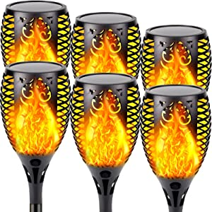 Solar Lights Outdoor, Super Large 6 Pack Waterproof Solar Torch Light with Vivid Flickering Flame Solar Landscape Decorative Lighting Dusk to Dawn Auto On/Off Pathway Lights for Garden Driveway