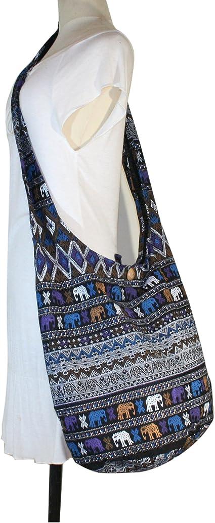 Tonka Nordic Elephant Hippie Bag Crossbody Sling Messenger Bags Purse Medium Black