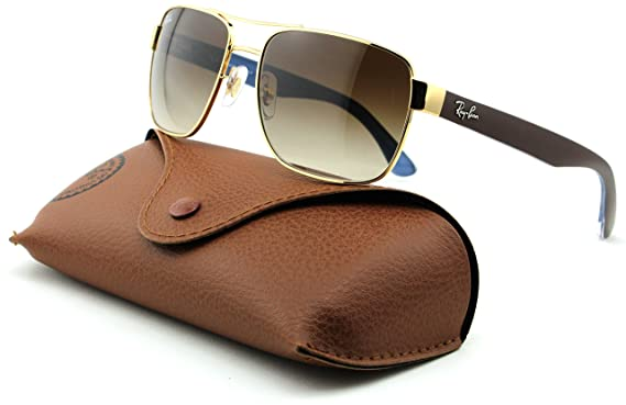 47784f8477f Amazon.com  Ray-Ban RB3530 Unisex Square Metal Sunglasses (Gold Frame Brown  Gradient Lens 001 13