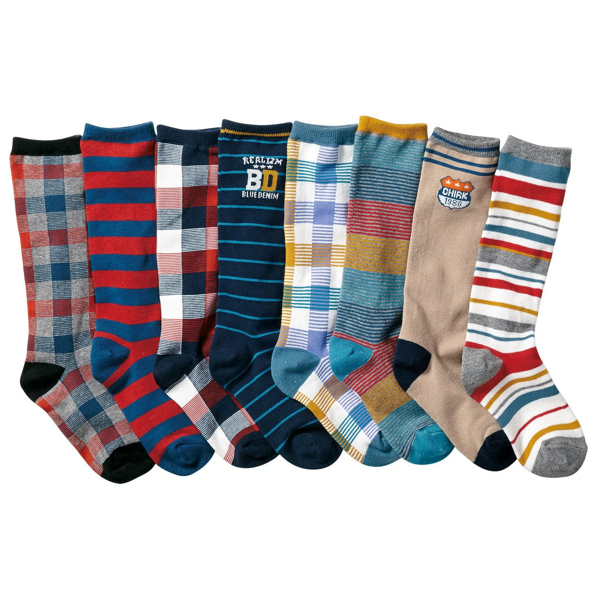 Boys Knee High Tube Socks Fashion Strip Comfort Cotton Stockings Socks 8 Pair Czofnjesi