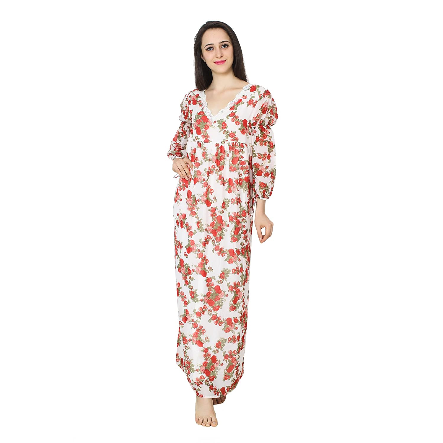 0e23af42b6 Patrorna Women s Lace Work A-Line Empire Nighty Night Dress Gown in Red  Floral Print (Size S-7XL