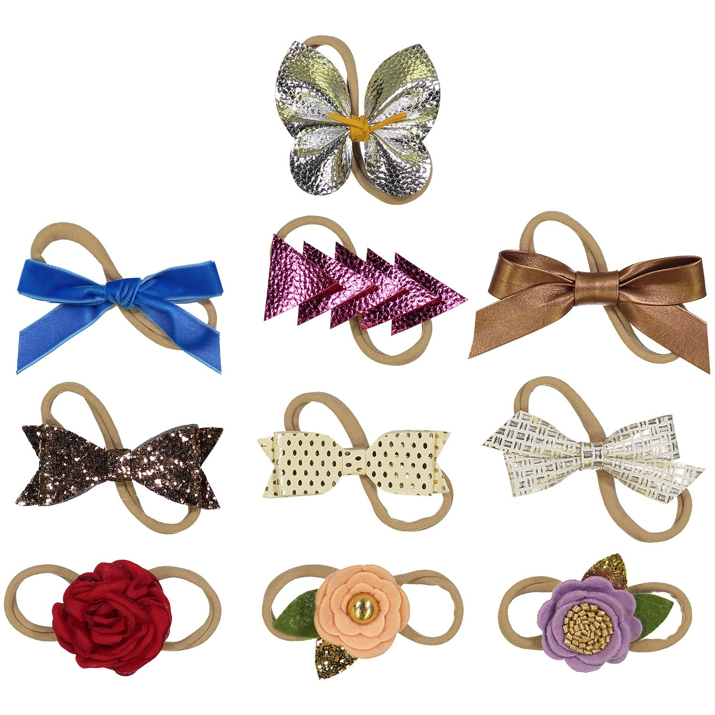 Assorted 10 Pack of Girls Headbands - Newborn and baby Girls Nylon Headbands ZM-NHBFVP-10