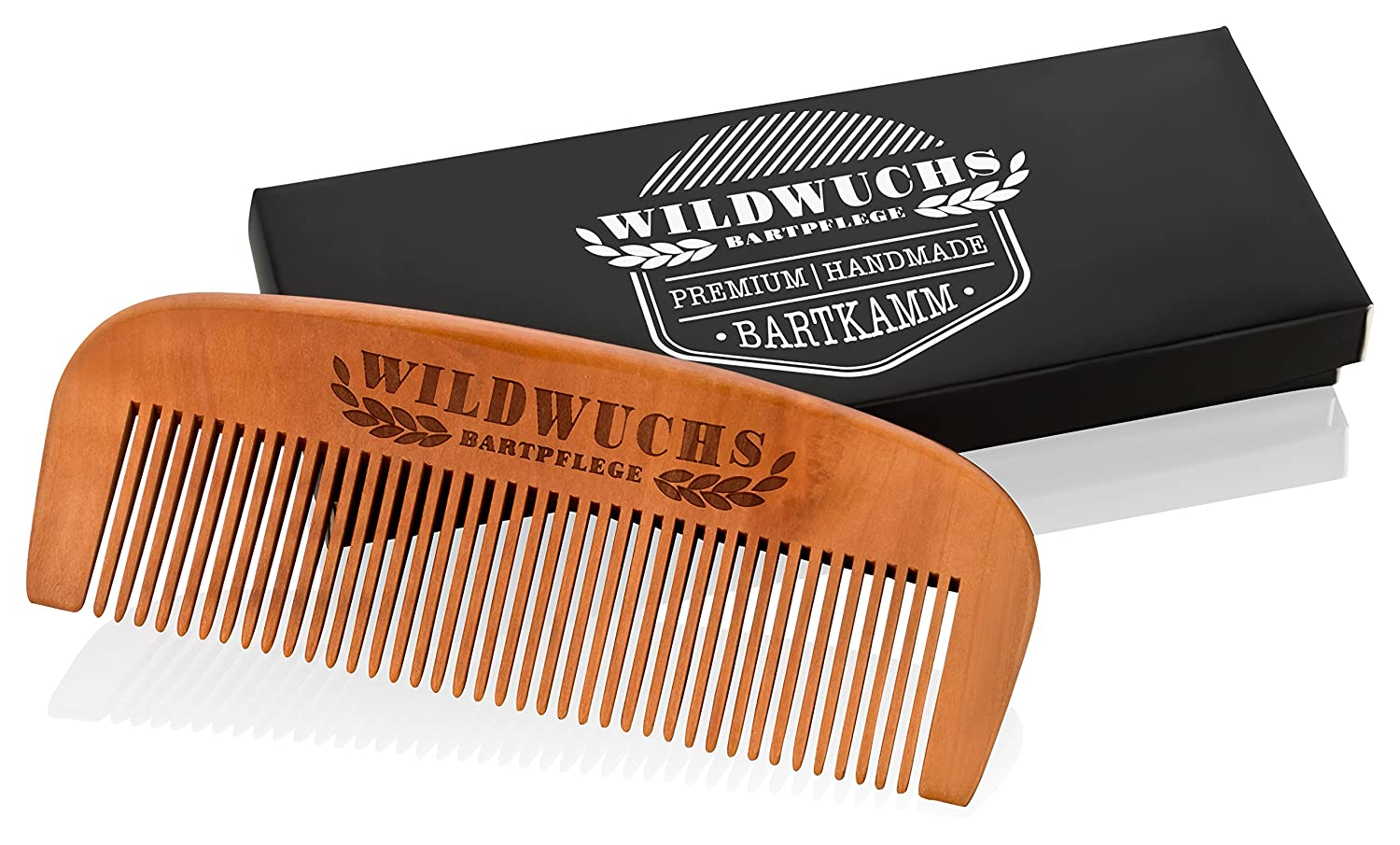 Beard Comb made from high quality pear wood - Handmade by Wildwuchs Bartpflege - wooden comb for beard care in a gift box for men grooming and styling