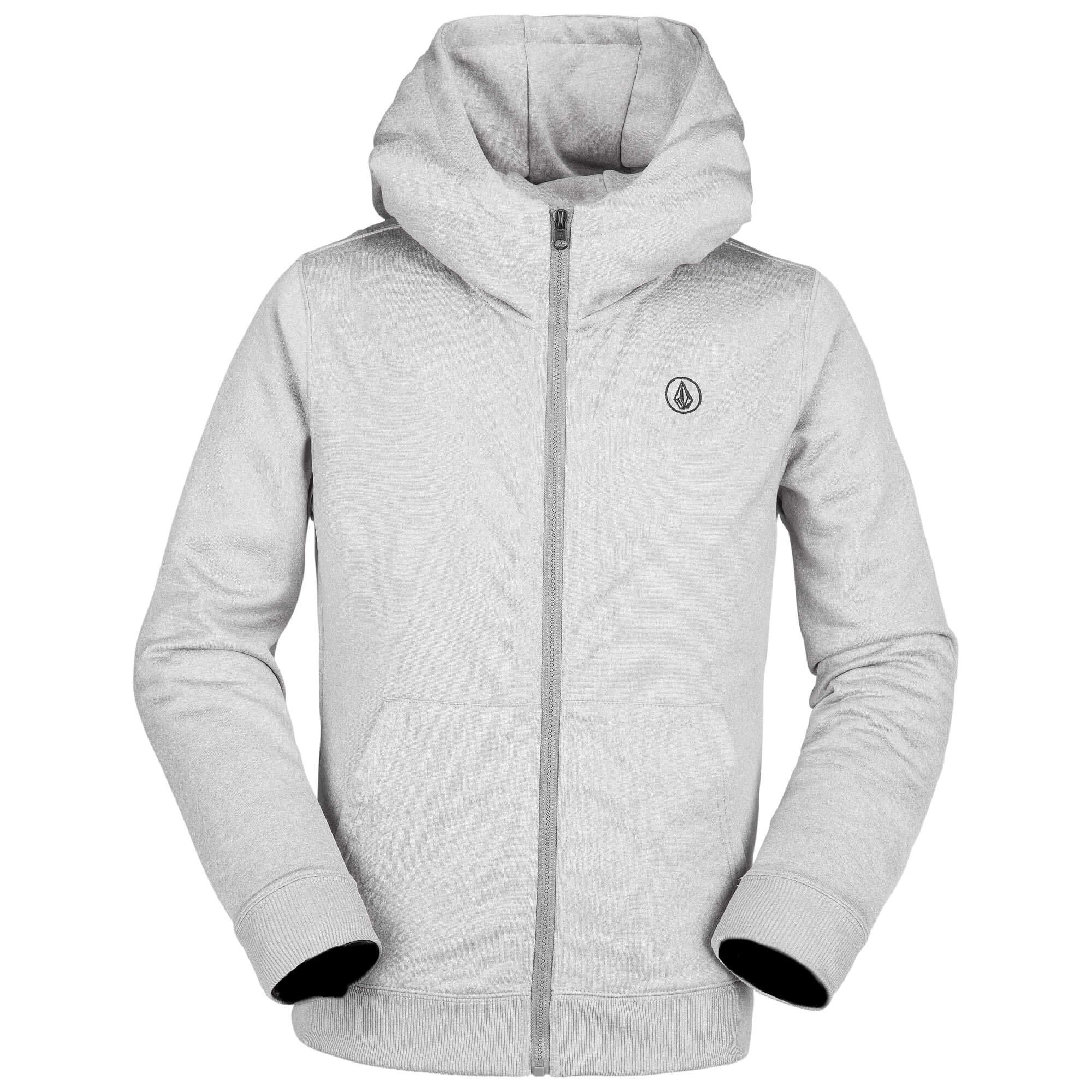Volcom Boys Grohman 280g Hydrophobic Hooded Fleece Sweatshirt, Heather Grey Large