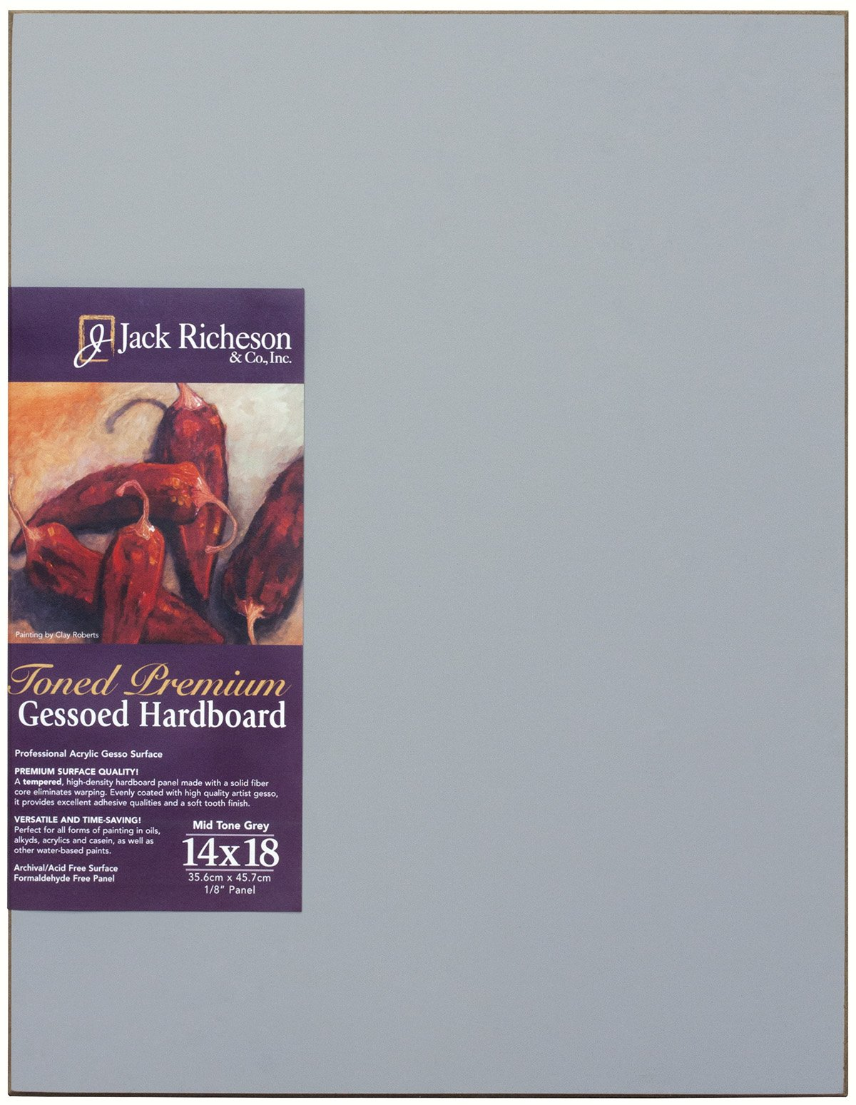 Jack Richeson Richeson Mid Grey Toned Gessoed 1/8'' Hardboard 14''x18'' by Jack Richeson