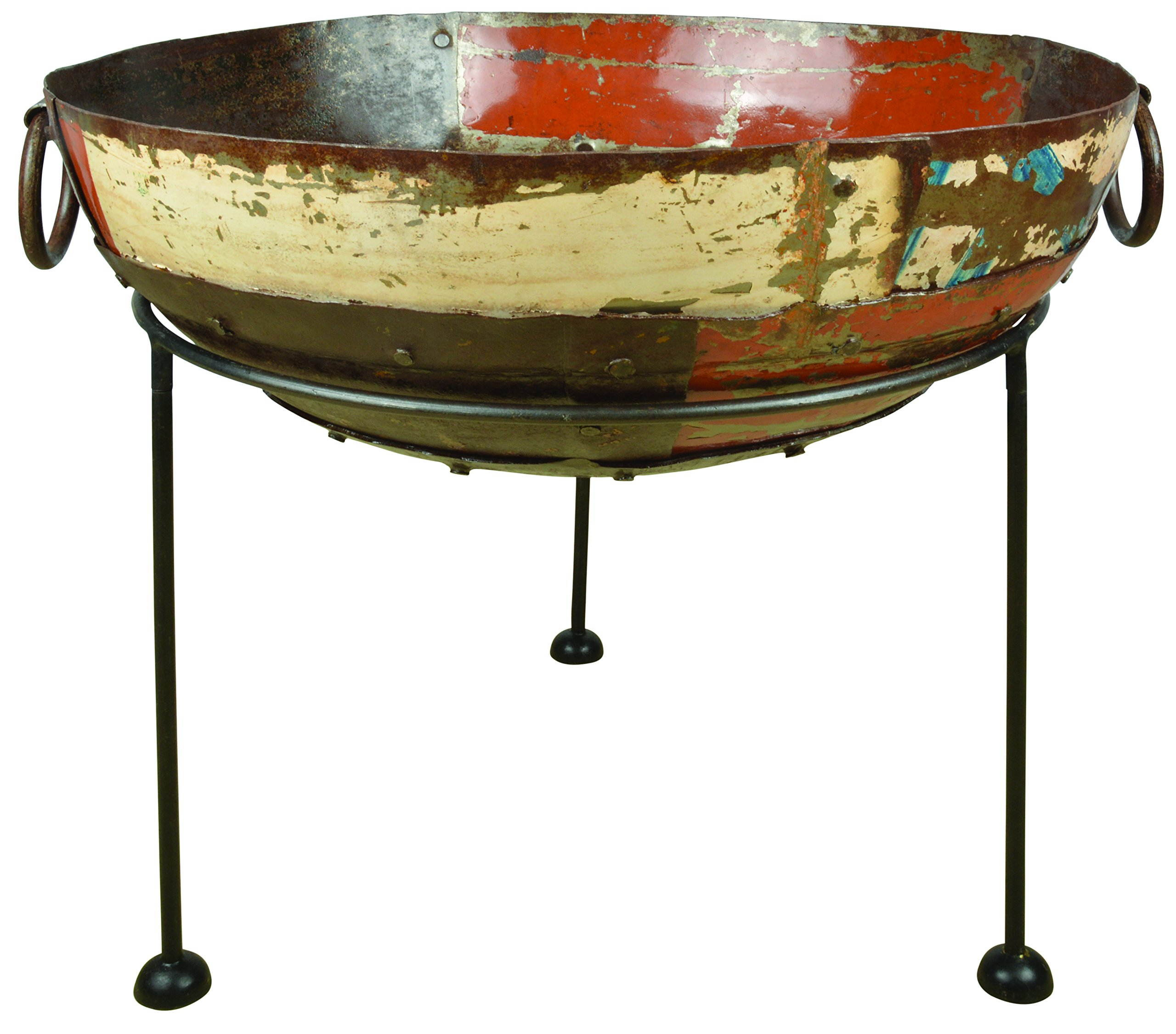 Esschert Design FF276 Series Fire Bowl Reclaimed Metal - Natural finish reclaimed metal is perfect for placement outdoors near a garden, patio, or in the yard With this large fire bowl on a stand you can sit around a roaring fire, anywhere, late into the night with friends Natural reclaimed metal - patio, outdoor-decor, fire-pits-outdoor-fireplaces - 81wUbmNzdgL -