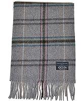 100% Wool Plaid Pattern Unisex Scarf with Tassels