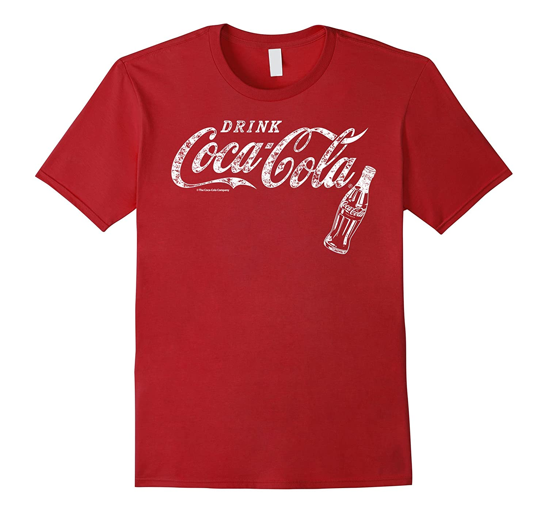 Coca-Cola Vintage White Drink Logo Bottle Graphic T-Shirt-FL