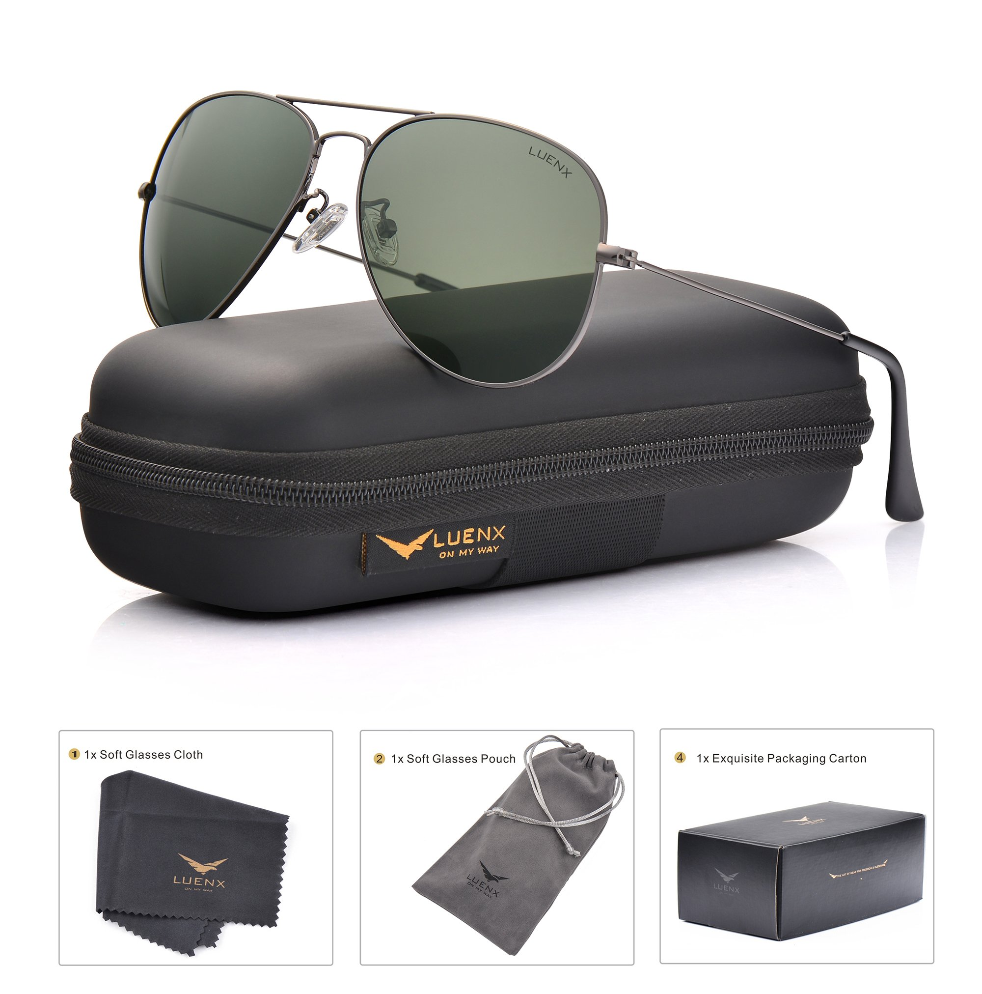 LUENX Men Women Aviator Sunglasses Grey Green Polarized Lens Gun Metal Frame Non-Mirror 60MM with Accessories Classic style by LUENX