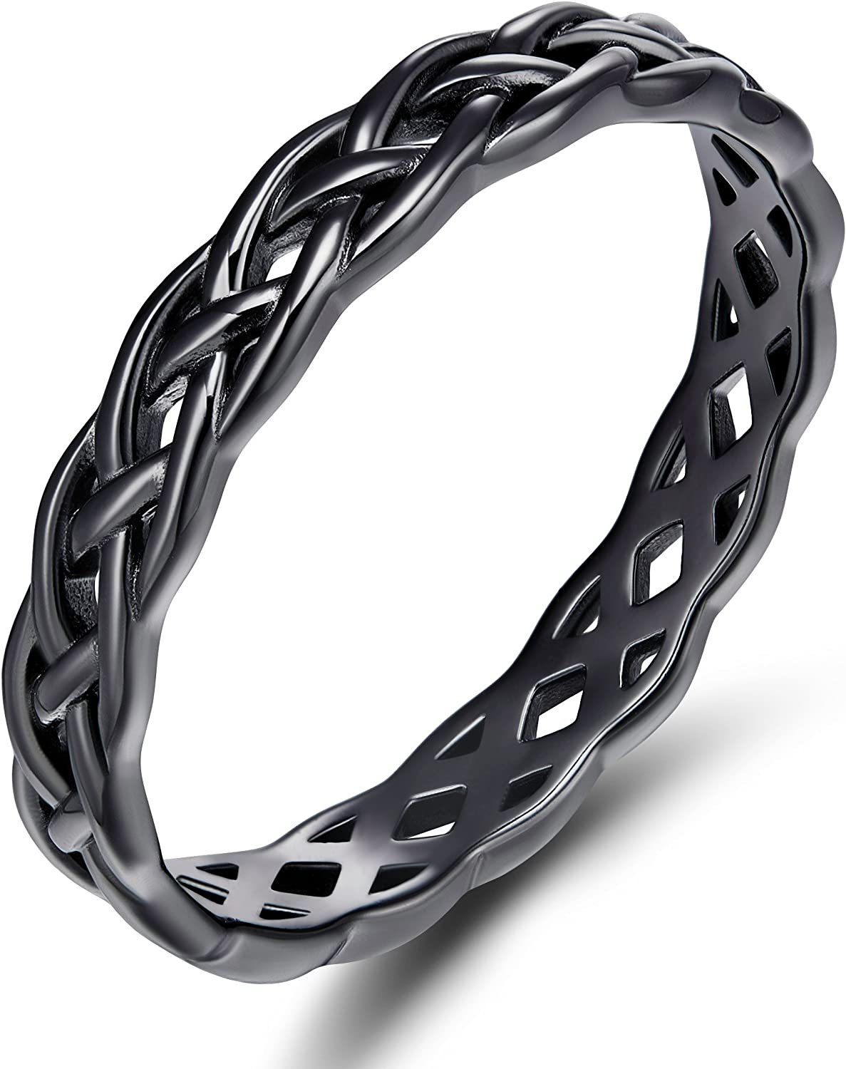 SOMEN TUNGSTEN 925 Sterling Silver Celtic Knot Eternity Band Ring Engagement Wedding Band 4mm Size 4-11