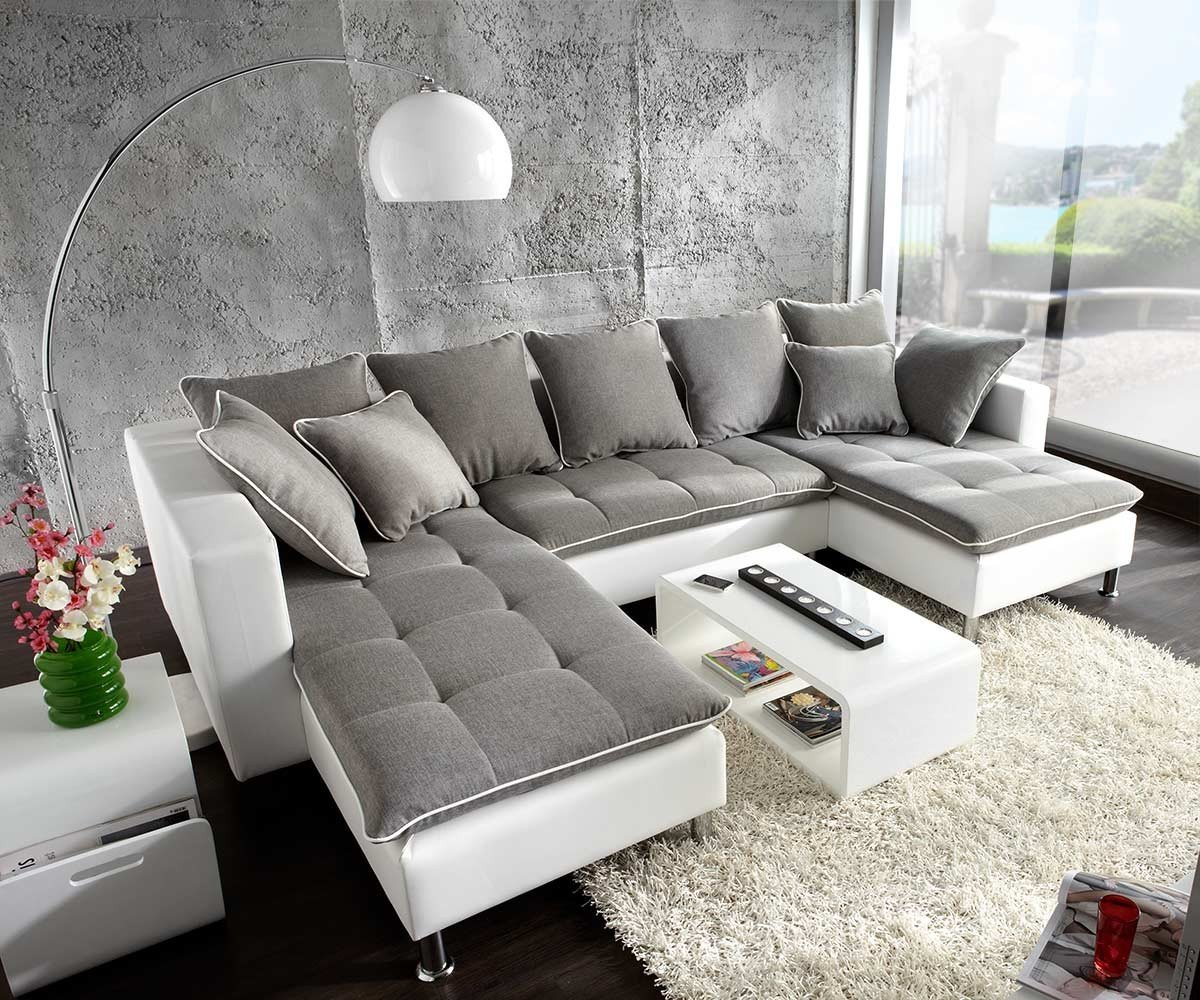 Couch Firenze Weiss Hellgrau 310x200 Ottomane Links Wohnlandschaft