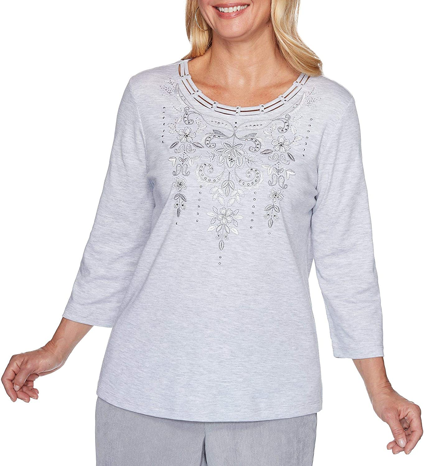Alfred Dunner Petite Lake Geneva Scroll Embroidered Neck Top Large Petite Pearl Grey