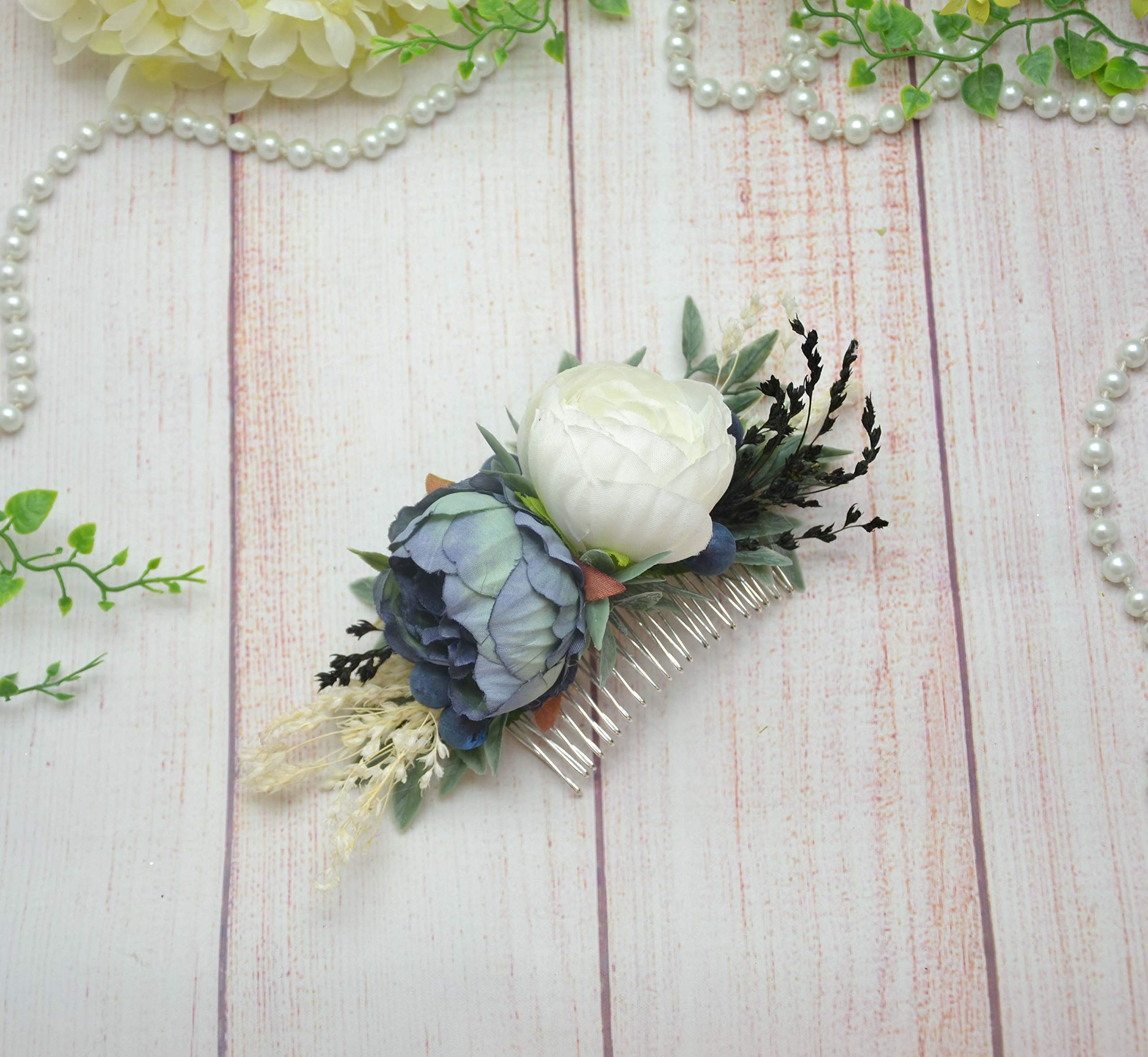Blue white floral comb Bridal hair comb slide with flowers Grromsmen boutonniere buttonhole by OlgasCreativeStudio