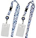 2-Pack Cruise Lanyard with Retractable Badge Reel, Water Resistant Badge Holder, and Snap Buckle, White Set