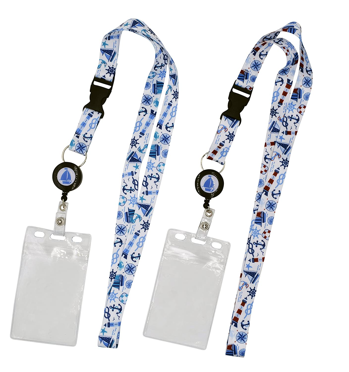 2-Pack Cruise Lanyard with Retractable Badge Reel, Water Resistant Badge Holder, and Snap Buckle, Teal and Blue Set Limeloot