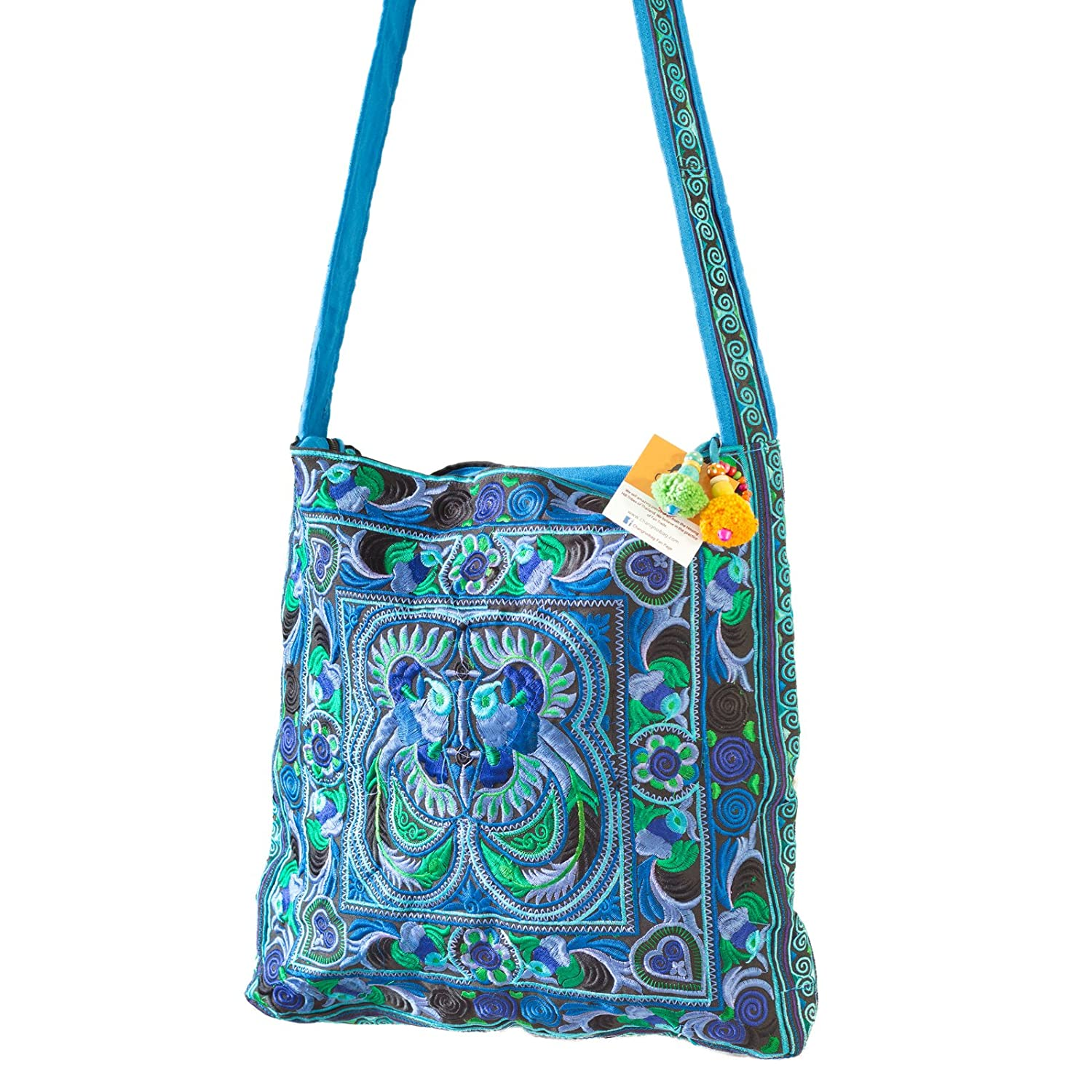 Changnoi Blue Bird Hmong Tote Hill Tribe Crossbody Bag Square Large Embroidered Strap Thai Fair Trade