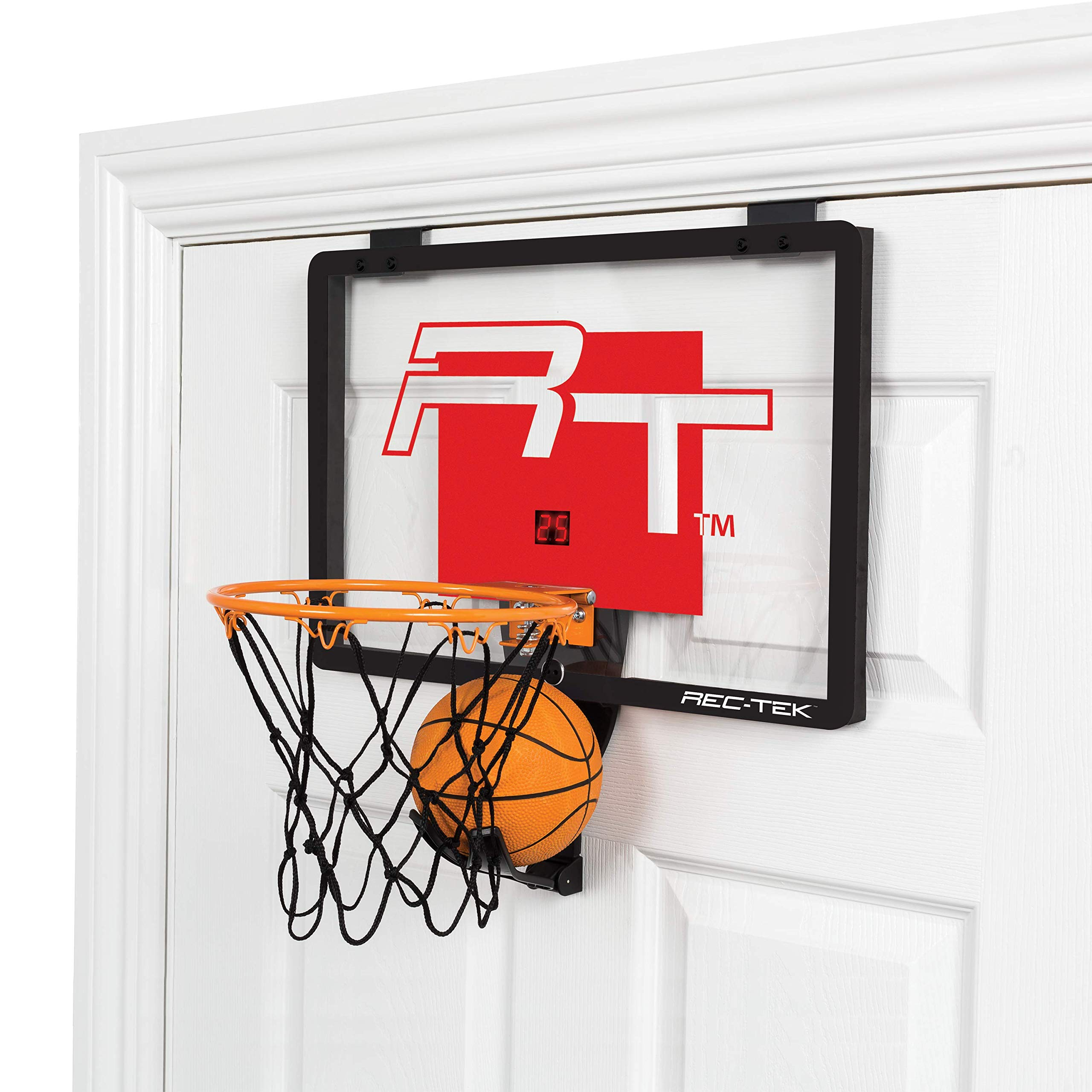 Rec-Tek Deluxe Over The Door Basketball Hoop Game for Kids - Features Built-In Ball Holder, No Tools Required - Complete with All Accessories by Rec-Tek
