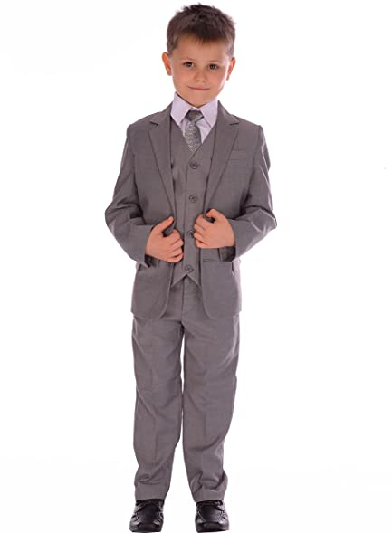 5 Piece Boys Suits Light Grey Fitted Suit Wedding Pageboy Formal ...