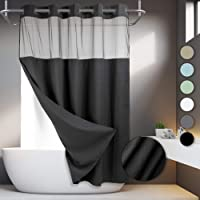No Hooks Required Waffle Weave Shower Curtain with Snap in Liner - 71W x 74H,Hotel Grade,Spa Like Bath Curtain,Black