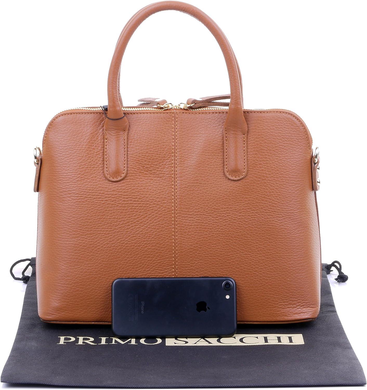 Primo Sacchi Italian Textured Leather Hand Made Bowling Style Handbag Tote Grab Bag Shoulder Bag