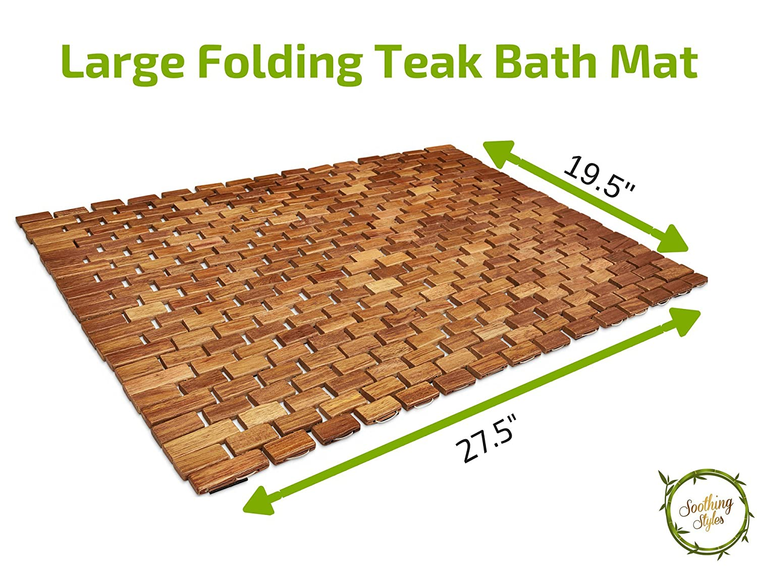 Amazon.com: Soothing Styles Handcrafted Folding Teak Shower Mat ...